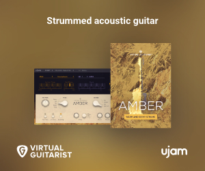 Strummed acoustic guitar Virtual Guitarist Amber by UJAM